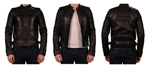 Dior Homme black leather biker jacket for men
