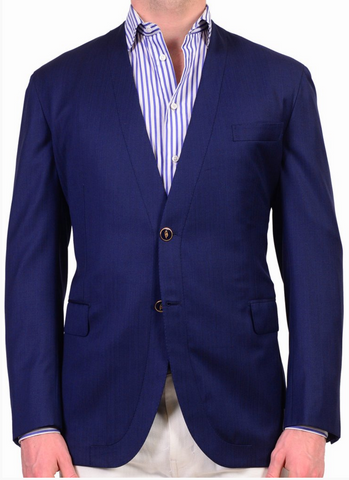 Brioni navy blue herringbone Jardigan jacket