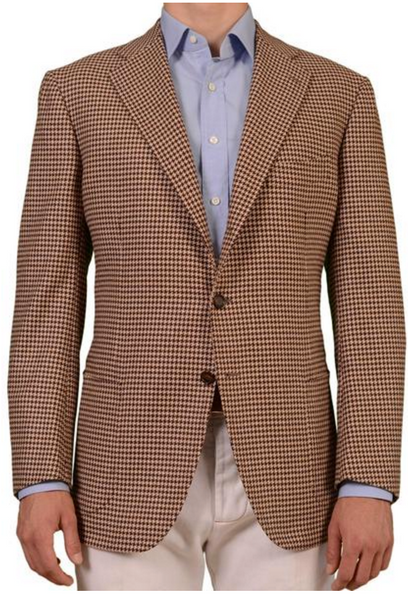 Houndstooth jacket in brown by Cesare Attolini