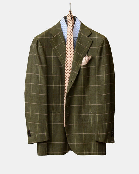 CESARE ATTOLINI NAPOLI GREEN WINDOWPANE WOOL SILK LINEN BLAZER JACKET