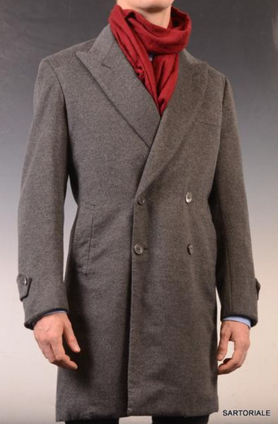 Double breasted winter overcoat in gray