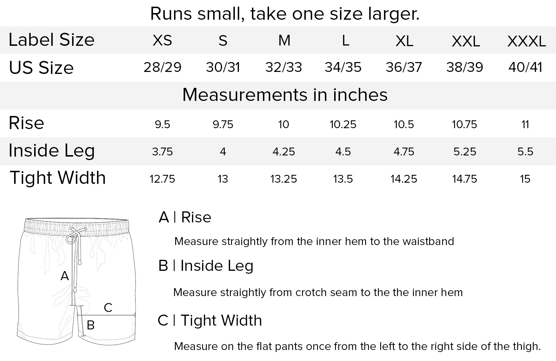 Fedeli swim shorts measurements chart