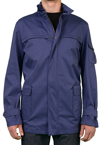 ISAIA BLUE COTTON WOOL SILK DOUBLE STORM HOODED PARKA JACKET RAIN COAT NEW