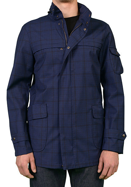 ISAIA BLUE WOOL ZEALANDER DOUBLE STORM JACKET RAIN PARKA COAT 50 NEW US 40