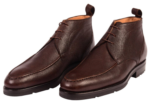 Brown leather chukka boots for men by Kiton
