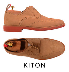 KITON NAPOLI BEIGE SUEDE BROGUE DERBY BUCK WINGTIP SHOES UK 9 NEW US 10