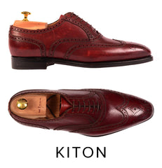 KITON NAPOLI BURGUNDY SCOTCHGRAIN OXFORD WINGTIP DRESS SHOES UK 8 NEW US 9