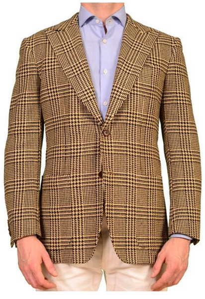 Brown Glen Plaid Windowpane Check Suit Jacket Blazer Fabric Quality Wool Suiting