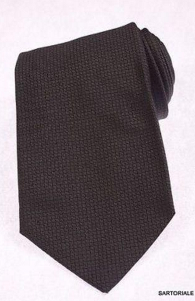 Black silk tie by Kiton