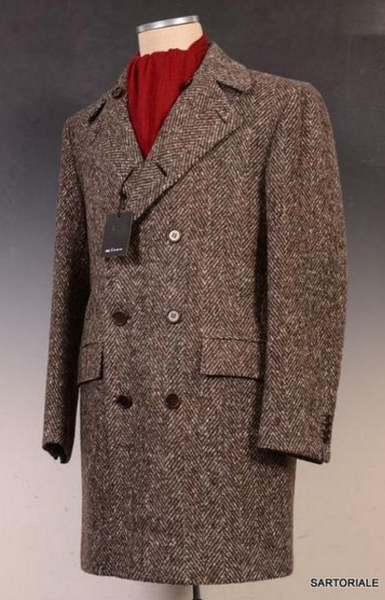 Tweed double breasted winter coat for men by Kiton