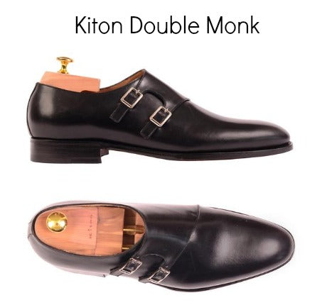 Double Monk Strap leather shoes by Kiton