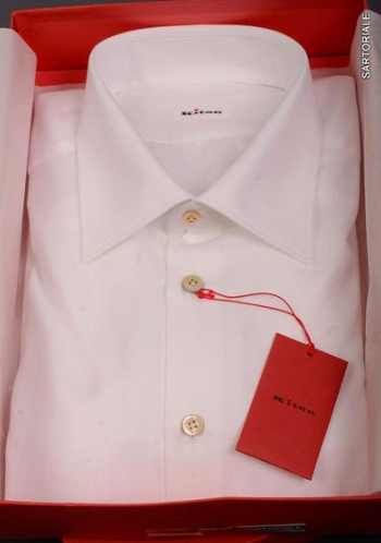 Kiton fitted white dress shirt