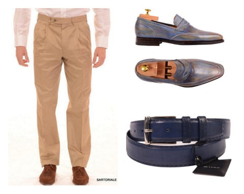Kiton belt and Kiton penny loafers with Rubinacci dress pants