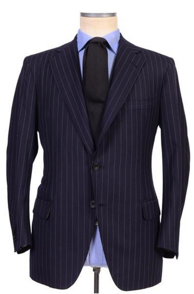 Pinstripe navy blue jacket by Rubinacci