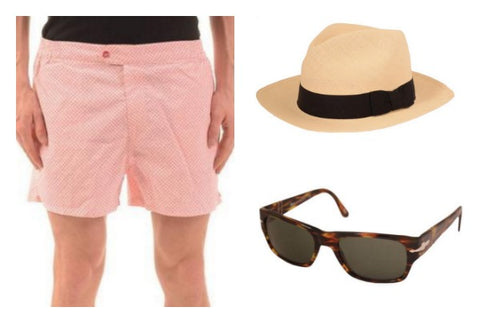 Rubinacci swim shorts Persol sunglasses and Panama hat