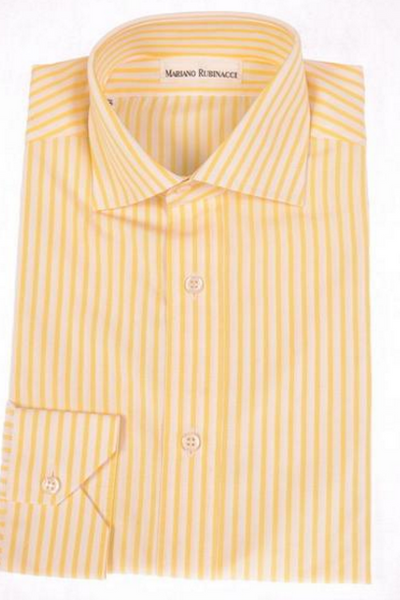white and yellow pinstriped dress shirt by Rubinacci