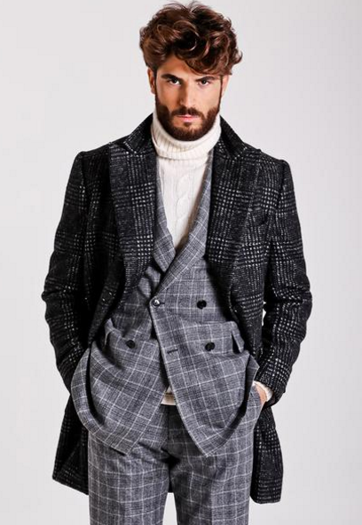 Gray double breasted over coat by Sartoria Partenopea