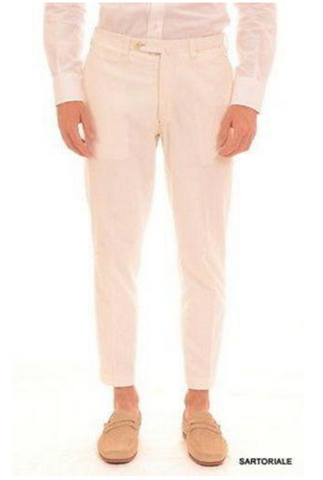 White slim fit pants for men by Sartoria Chiaia