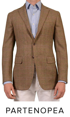 SARTORIA PARTENOPEA HAND MADE GREEN BEIGE HERRINGBONE WOOL TWEED BLAZER JACKET N