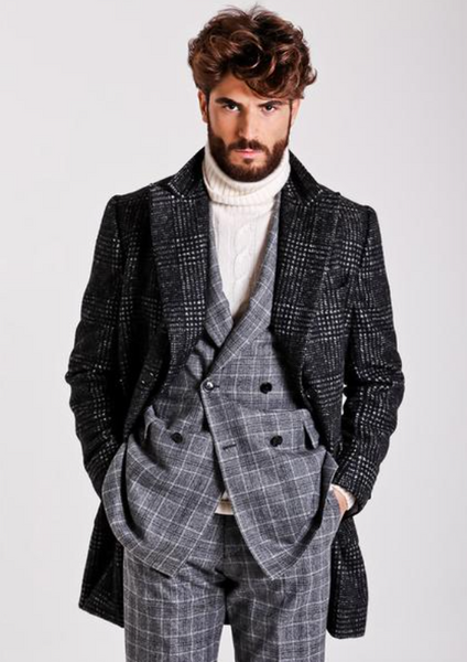 DB Polo overcoat in glen plaid by Sartoria Partenopea