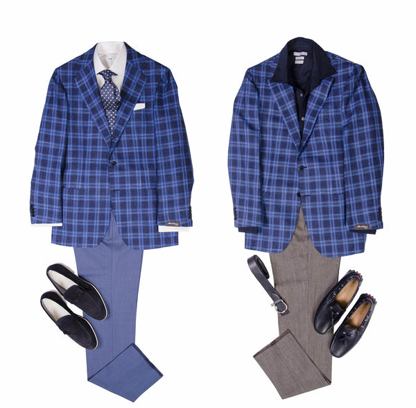 "A well considered bold check goes a long way in men's style. The fresh blues of this Sartorio Napoli piece are perfect for the brightest of sunshine, we were already raveing about, why this material is the ultimate summer jacketing cloth (Ide be lehet szúrni linknek az előző posztot.) The look on the left is a great option to attend summer weddings as a guest.  As dress codes becoming more and more casual, wearing a full suit is not always needed. Maked sure to check out the location and time, feel for the environment always helps to determine the outfit to go for. The tonal pairing of the jacket and pants have a celebratory feel, the crisp white and neatly folded pocket square brings the necessary contrast. The foulard patterned tie is optional, a navy blue silk knit is a great alternative, for a more restrained proposition.   On the contrary, the second look is to enjoy ""regular"" occasions. Lunch with the family or drinks with your friends, all important happenings of day-to-day life. The navy linen shirt is key to achieve the laid back, but still elegant impression. A great summer essential, which works also, when you need to take your jacket off. The dark khaki pants ""break"" the blues in the look, to maintain the casual feel. The driving loafers feel a bit more serious in calf, rather than suede, which balances out elegant/informal feel well."