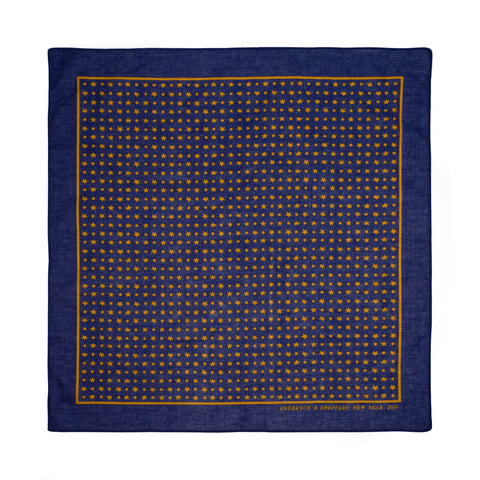 "ANDERSON & SHEPPARD ""NEW YEAR 2019"" Blue Polka Dot Star Cotton Pocket Square"