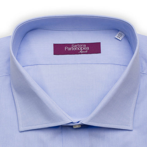 SARTORIA PARTENOPEA Solid Blue Cotton Broadcloth Standard Cuff Dress Shirt NEW
