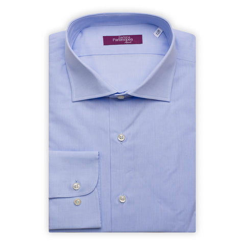 SARTORIA PARTENOPEA Light Blue Cotton Broadcloth Standard Cuff Dress Shirt NEW