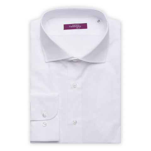 SARTORIA PARTENOPEA Solid White Cotton Poplin Standard Cuff Dress Shirt NEW