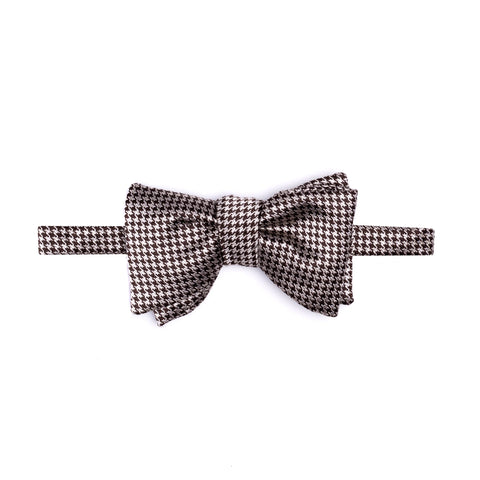 TOM FORD Brown Houndstooth Classic Silk Bow Tie