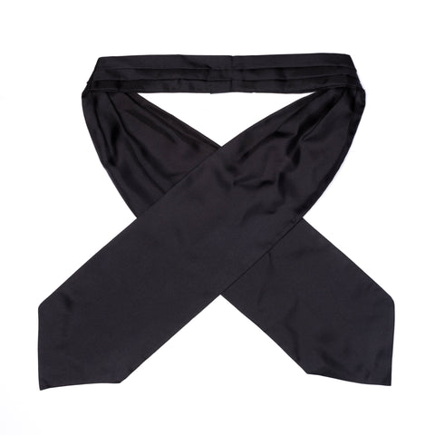 YVES SAINT LAURENT Rive Gauche by Tom Ford Solid Black Silk Ascot Tie