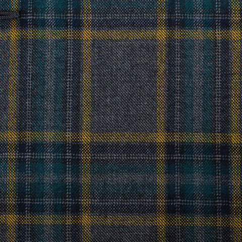 BELVEST Handmade Gray Tartan Plaid Wool Super 120's Suit EU 52 NEW US 42 Slim Fit
