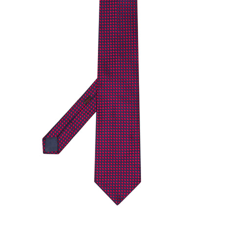 CHARVET Vendome Blue Red Dot Jacquard Silk Classic Tie NEW