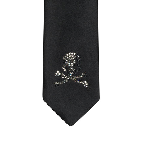 "MASTERMIND JAPAN x GINGAM 2008 S/S ""Heartful"" Black Silk Swarovski Crystal Tie"