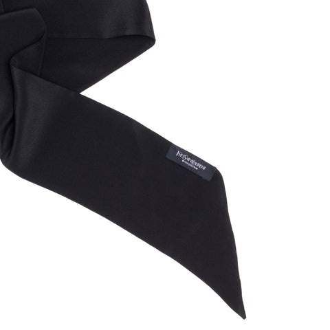 YVES SAINT LAURENT Rive Gauche by Tom Ford Solid Black Silk Bias-Cut End Neck Tie