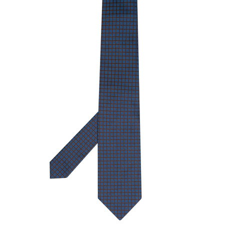 CHARVET Vendome Blue Plaid Jacquard Silk Classic Tie NEW