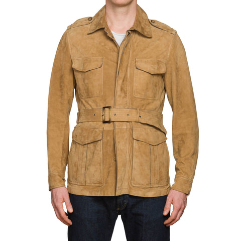 HACKETT London Tan Suede Lambskin Leather Unlined Belted Safari Jacket Size M