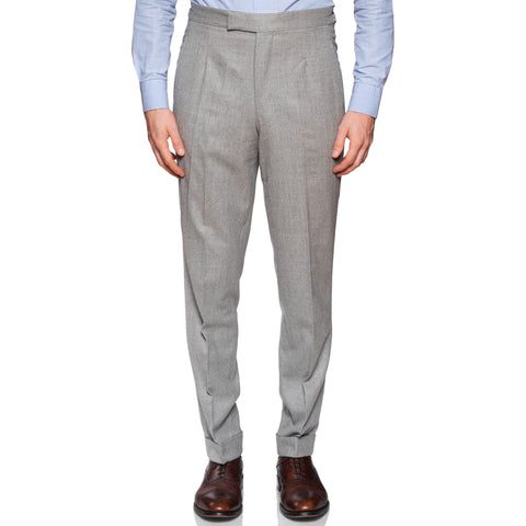 ANDERSON & SHEPPARD Light Gray Wool Flat Front Pants EU 50 US 34 Slim Fit