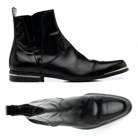 Authentic DOLCE & GABBANA Black Patent Leather Chelsea Boots Shoes IT 8 US 9