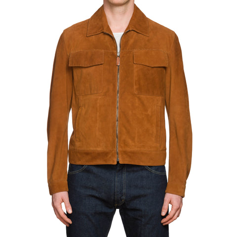 CESARE ATTOLINI Hand-Stitched Brown Suede Unlined Blouson Jacket 50 NEW US M