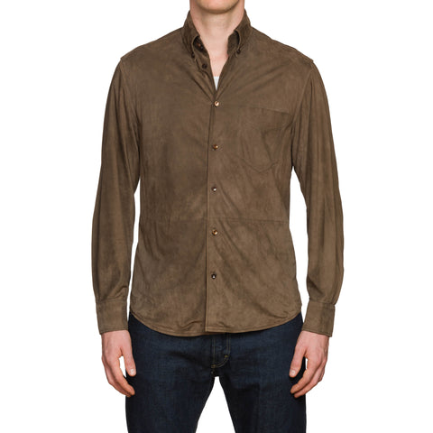 ENRICO MANDELLI Brown Suede Leather Unlined Blouson Shirt Jacket EU 50 US M