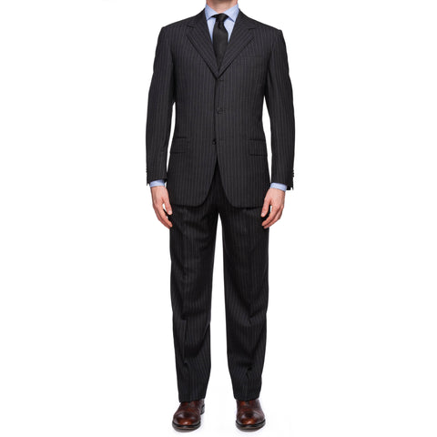 SARTORIA CASTANGIA Dark Gray Striped Wool Super 120's Suit EU 50 NEW US 40