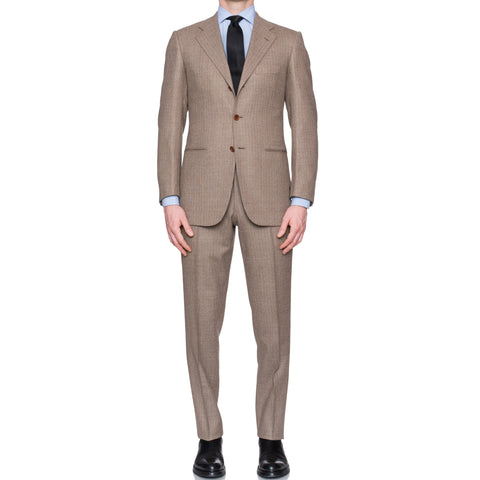 SARTORIA CESARE ATTOLINI Napoli for LORD Handmade Sand Striped Wool Suit NEW