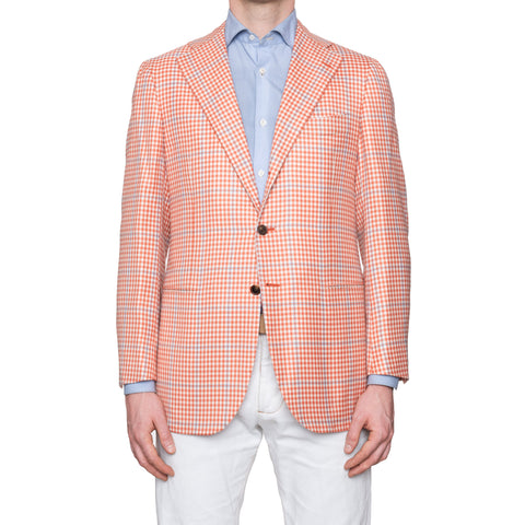 CESARE ATTOLINI Napoli Orange Plaid Cashmere Blazer Jacket EU 50 NEW US 40 Slim