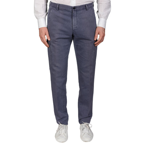 BOGLIOLI Milano Blue Cotton-Linen Slim Fit Cargo Pants EU 50 NEW US 34