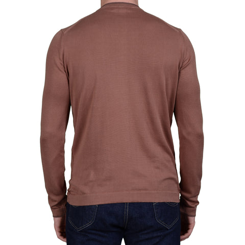 BOGLIOLI Milano Brown Cotton Long Sleeve T-Shirt NEW Size L