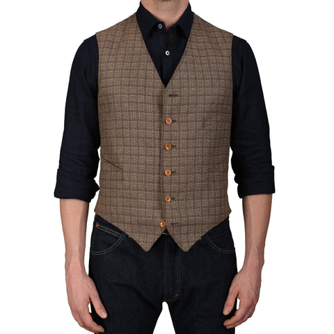 BOGLIOLI Milano Brown Plaid Silk-Linen-Wool 6 Button Vest Waistcoat 50 NEW US 40