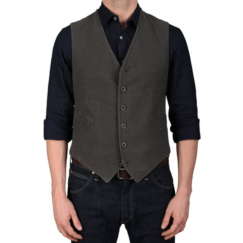 "BOGLIOLI Milano ""Coat"" Gray Cotton-Linen 6 Button Vest Waistcoat EU 50 NEW US 40"