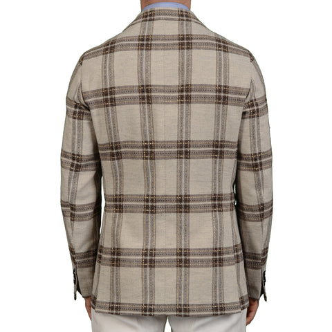 "BOGLIOLI Milano ""Coat"" Gray Plaid Wool-Linen Blazer Jacket EU 50 NEW US 40"