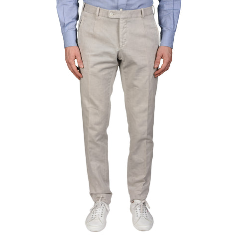 "BOGLIOLI Milano ""Coat"" Light Gray Cotton-Linen Twill Slim Fit Casual Pants 48 NEW US 32"